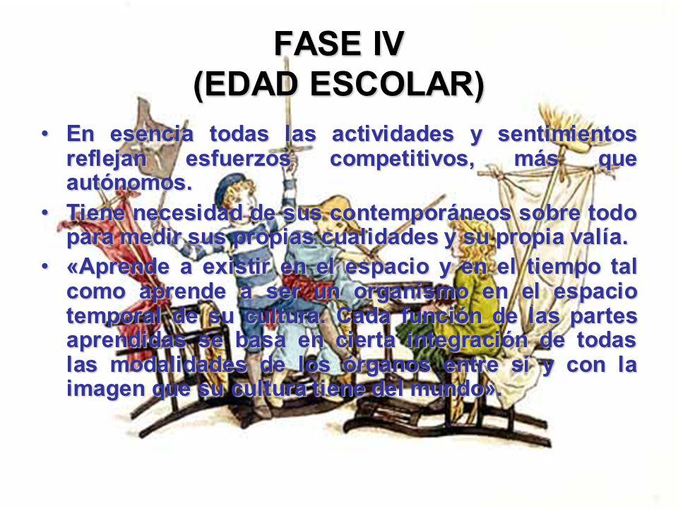 FASE IV (EDAD ESCOLAR)En esencia todas las actividades y sentimientos reflejan esfuerzos competitivos, más que autónomos.