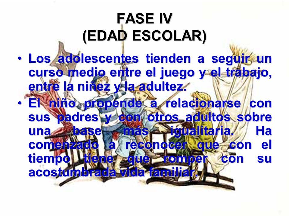 FASE IV (EDAD ESCOLAR) Los adolescentes tienden a seguir un curso medio entre el juego y el trabajo, entre la niñez y la adultez.