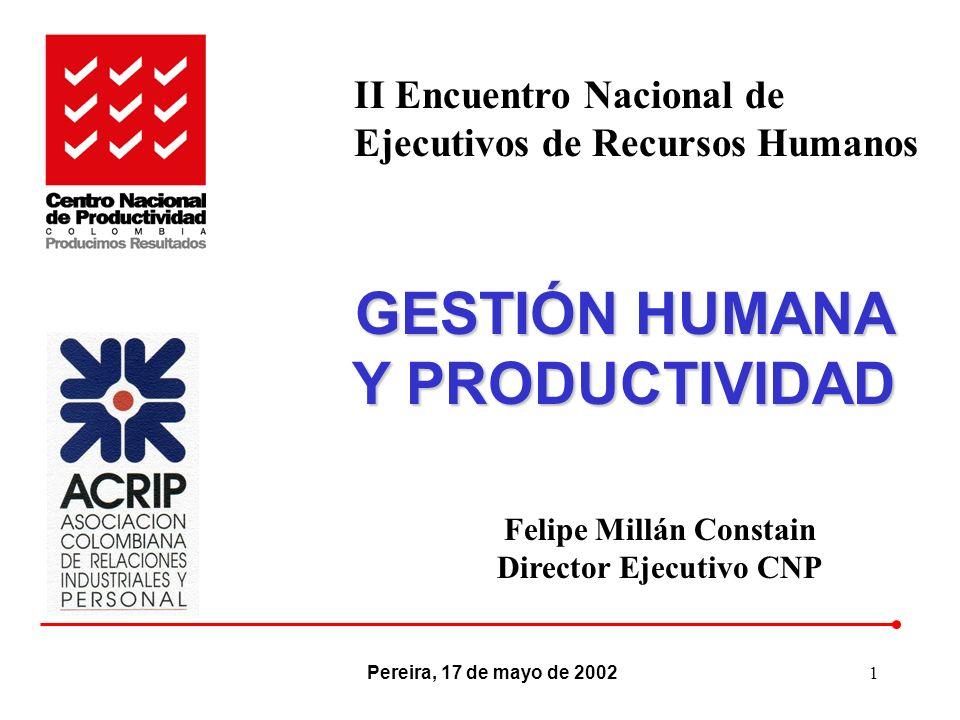 GESTIÓN HUMANA Y PRODUCTIVIDAD