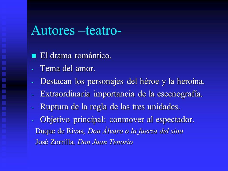 Autores –teatro- El drama romántico. Tema del amor.