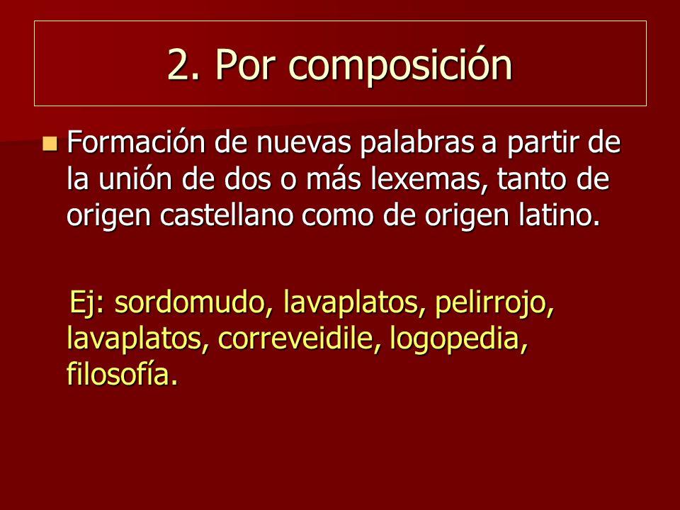 2. Por composición Formación de nuevas palabras a partir de la unión de dos o más lexemas, tanto de origen castellano como de origen latino.