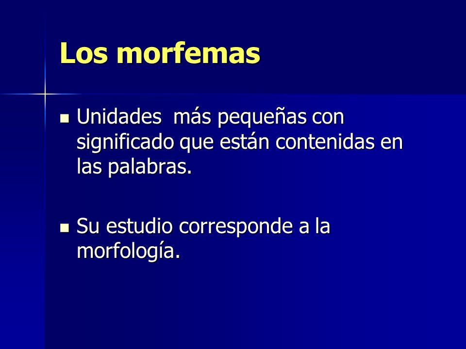 Los morfemas Unidades más pequeñas con significado que están contenidas en las palabras.