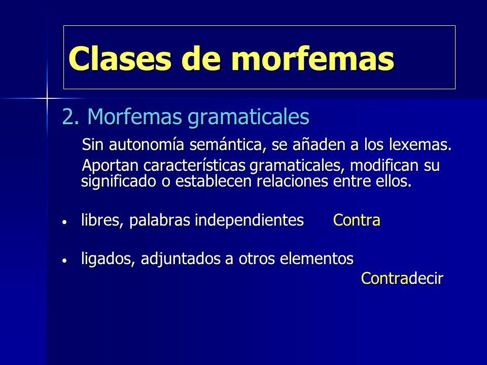 Clases de morfemas 2. Morfemas gramaticales