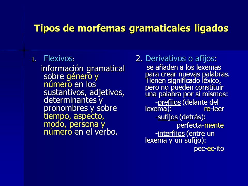 Tipos de morfemas gramaticales ligados