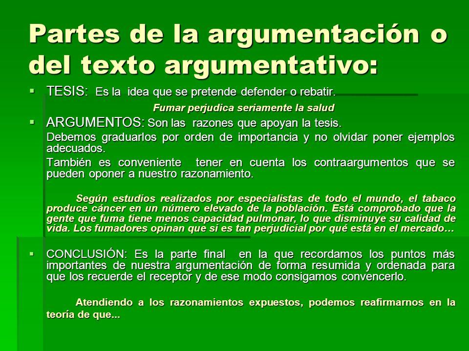 Partes de la argumentación o del texto argumentativo: