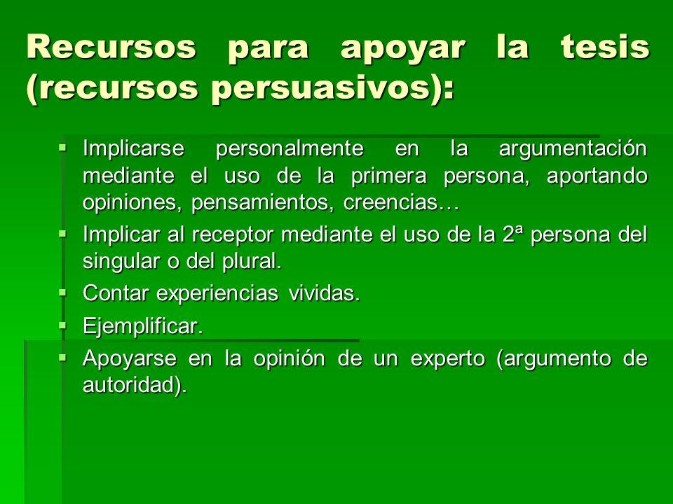 Recursos para apoyar la tesis (recursos persuasivos):