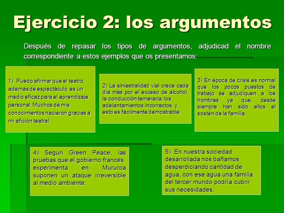 Ejercicio 2: los argumentos
