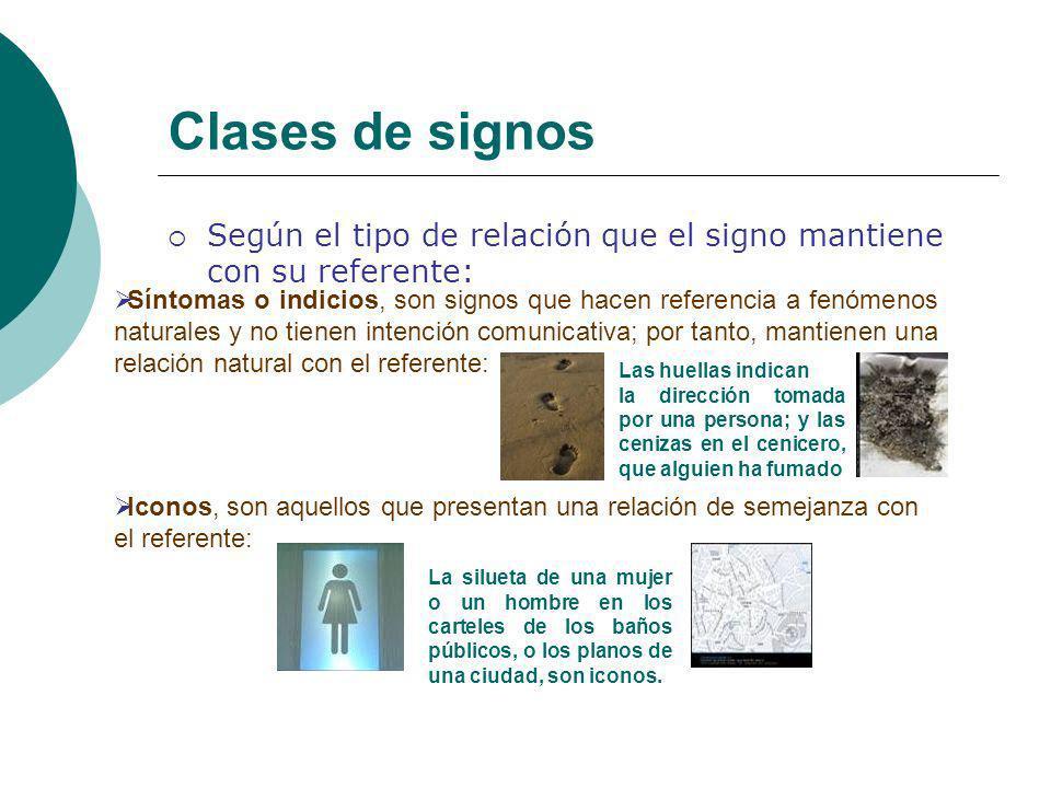 Clases de signos Según el tipo de relación que el signo mantiene con su referente: