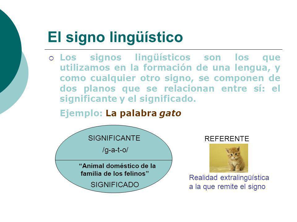 El signo lingüístico Ejemplo: La palabra gato