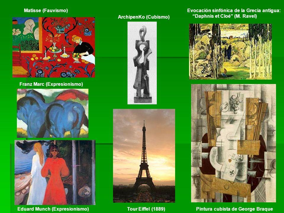 Matisse (Fauvismo) Evocación sinfónica de la Grecia antigua: Daphnis et Cloé (M. Ravel) ArchipenKo (Cubismo)