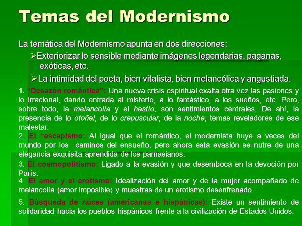 Temas del Modernismo La temática del Modernismo apunta en dos direcciones: Exteriorizar lo sensible mediante imágenes legendarias, paganas,