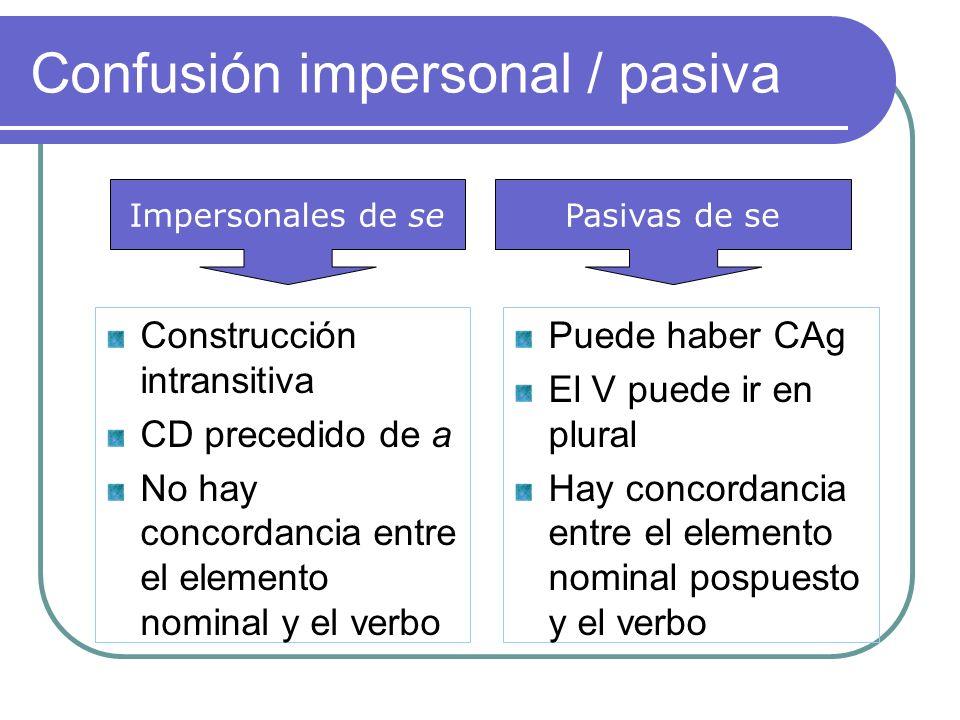 Confusión impersonal / pasiva
