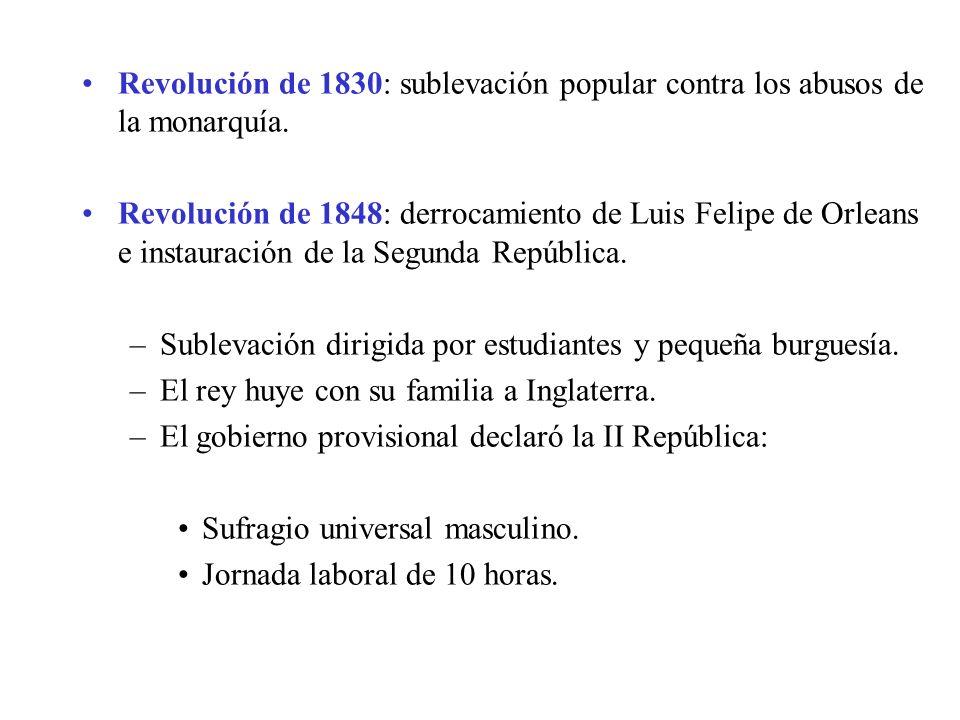 Revolución de 1830: sublevación popular contra los abusos de la monarquía.