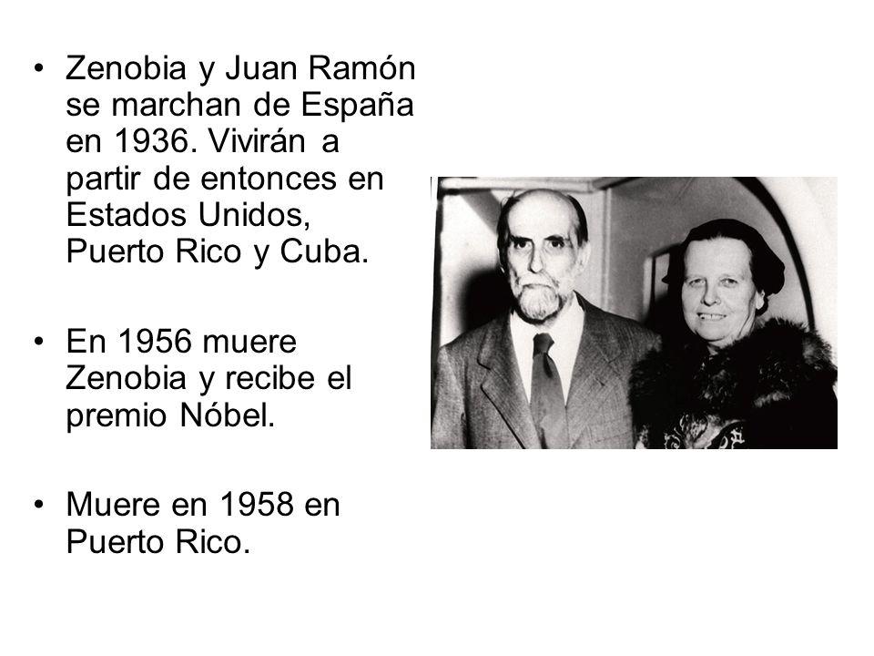 Zenobia y Juan Ramón se marchan de España en 1936
