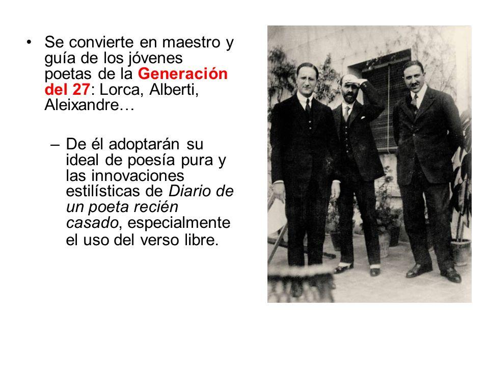 Se convierte en maestro y guía de los jóvenes poetas de la Generación del 27: Lorca, Alberti, Aleixandre…