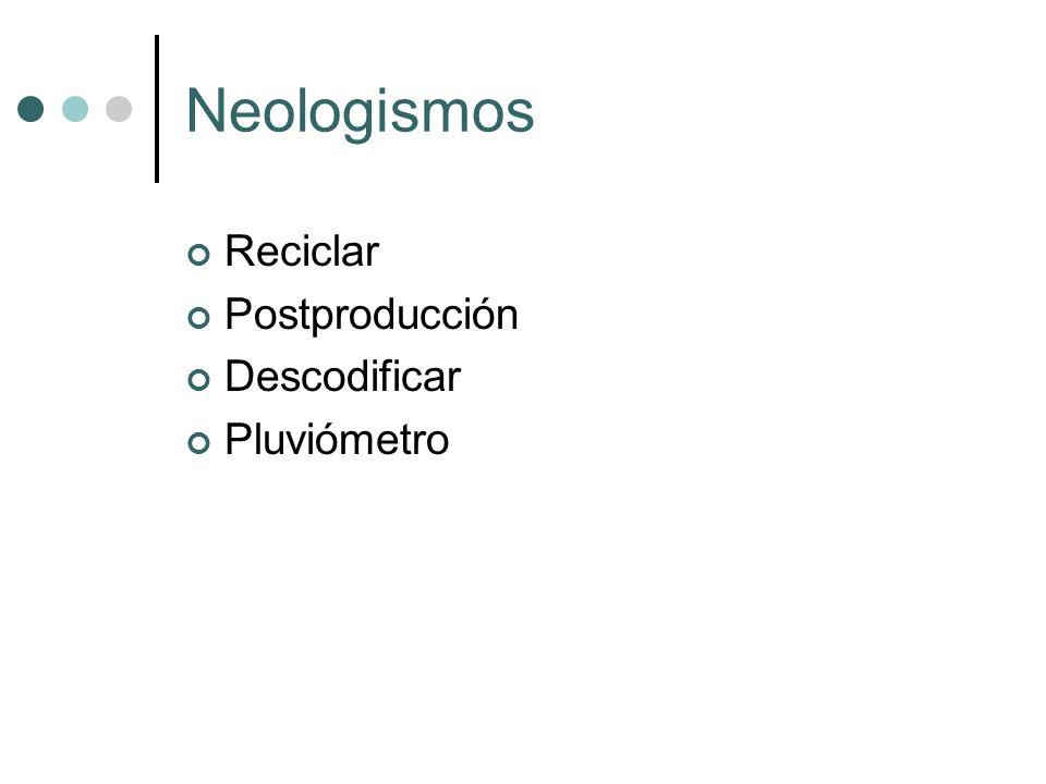 Neologismos Reciclar Postproducción Descodificar Pluviómetro