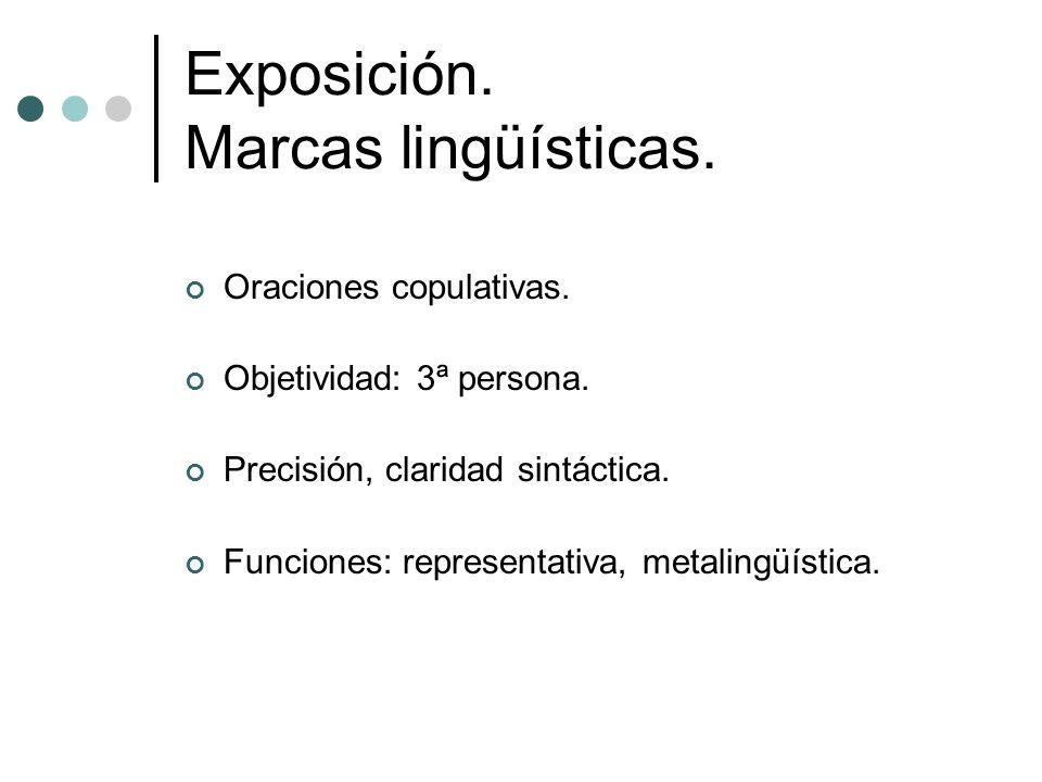 Exposición. Marcas lingüísticas.