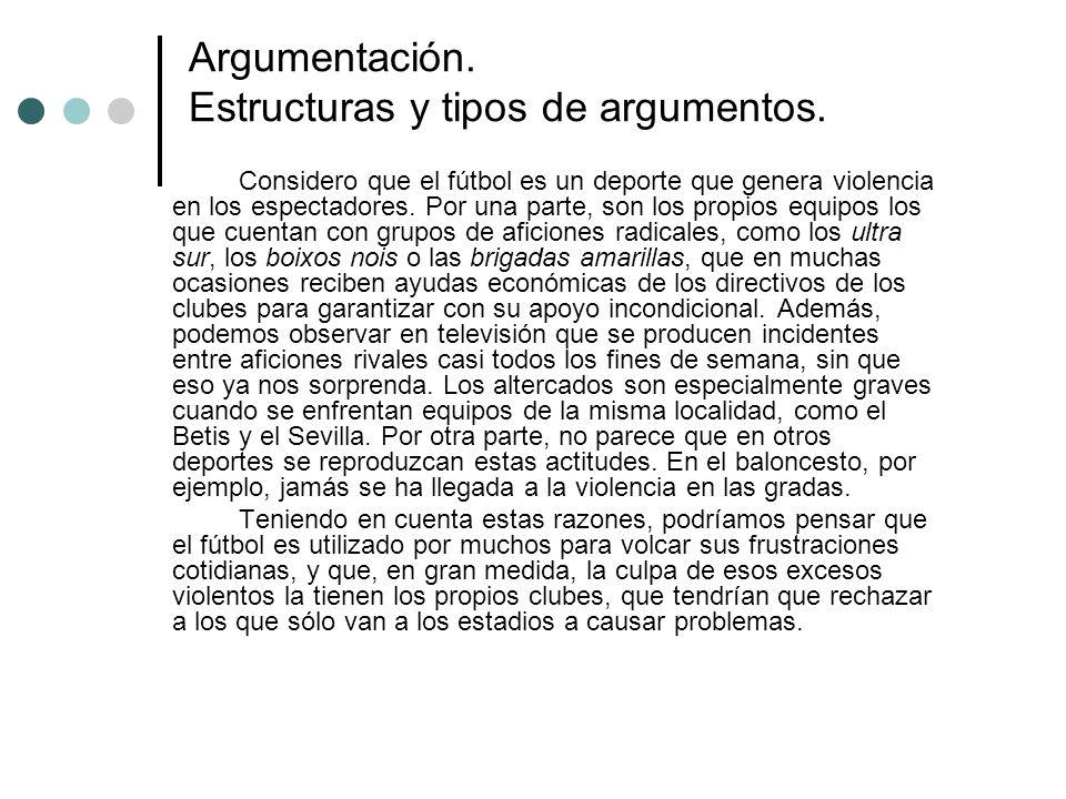 Argumentación. Estructuras y tipos de argumentos.