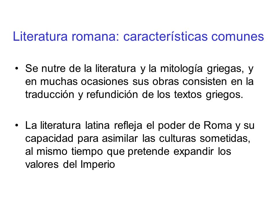 Literatura romana: características comunes