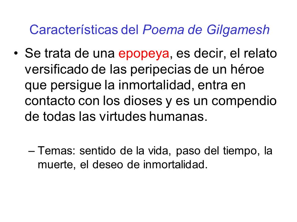 Características del Poema de Gilgamesh