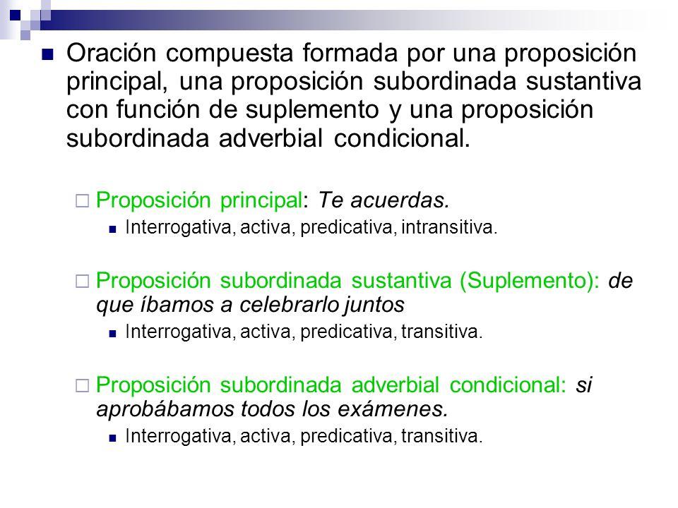 Oración compuesta formada por una proposición principal, una proposición subordinada sustantiva con función de suplemento y una proposición subordinada adverbial condicional.