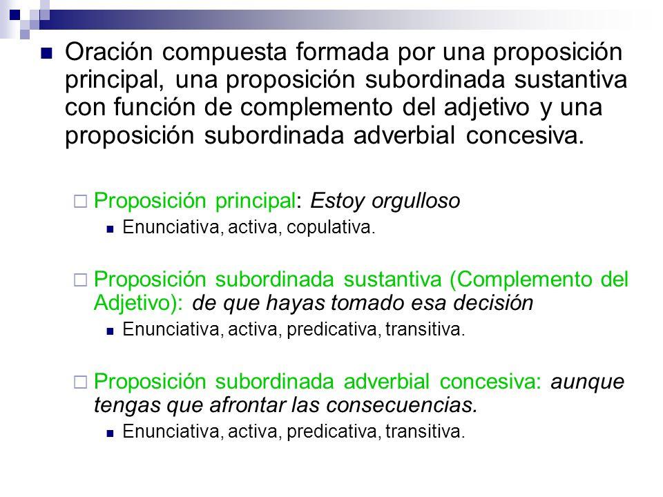 Oración compuesta formada por una proposición principal, una proposición subordinada sustantiva con función de complemento del adjetivo y una proposición subordinada adverbial concesiva.