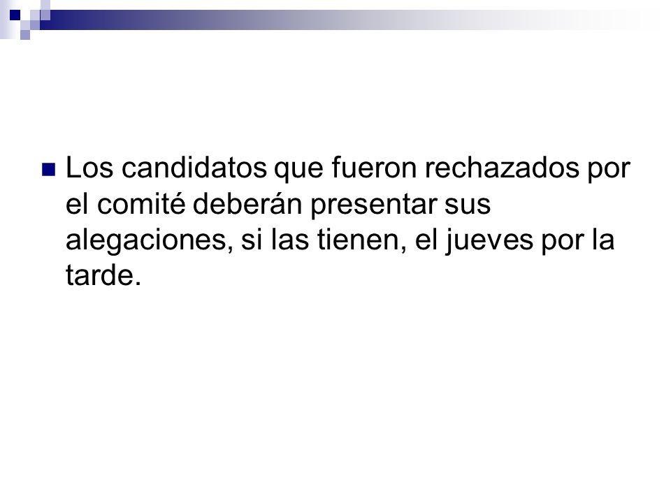 Los candidatos que fueron rechazados por el comité deberán presentar sus alegaciones, si las tienen, el jueves por la tarde.