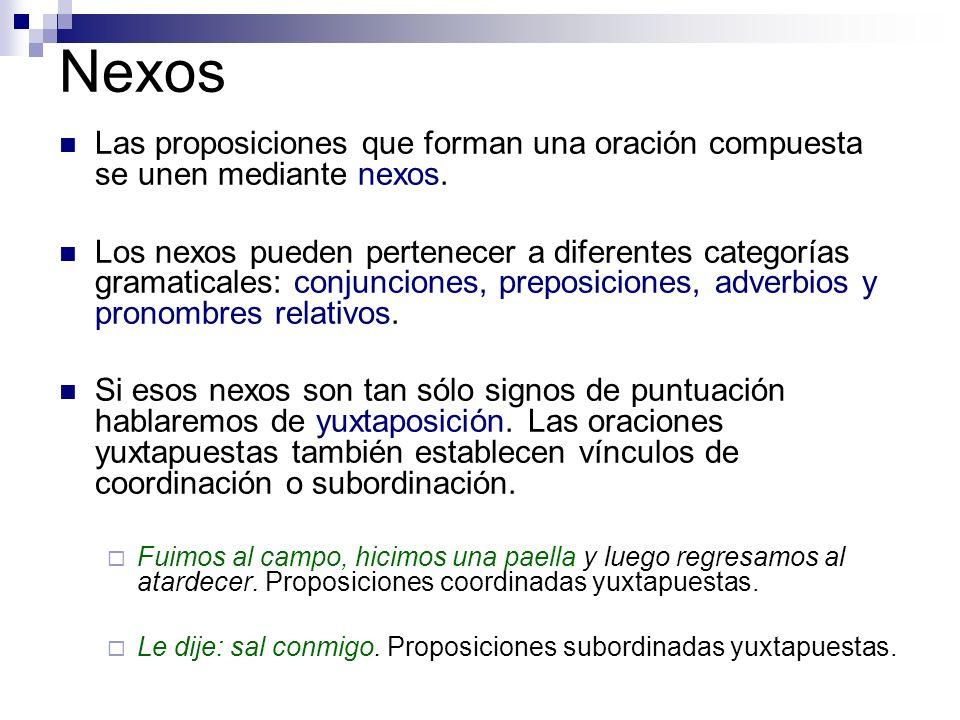NexosLas proposiciones que forman una oración compuesta se unen mediante nexos.