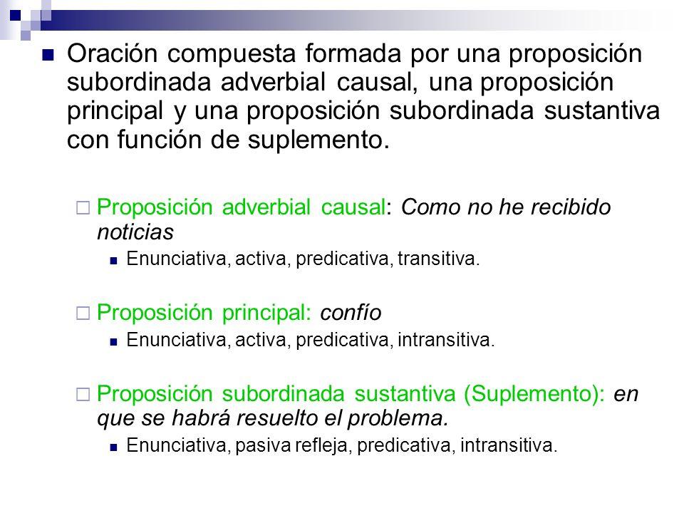 Oración compuesta formada por una proposición subordinada adverbial causal, una proposición principal y una proposición subordinada sustantiva con función de suplemento.