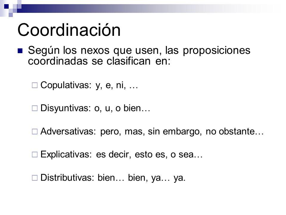 Coordinación Según los nexos que usen, las proposiciones coordinadas se clasifican en: Copulativas: y, e, ni, …