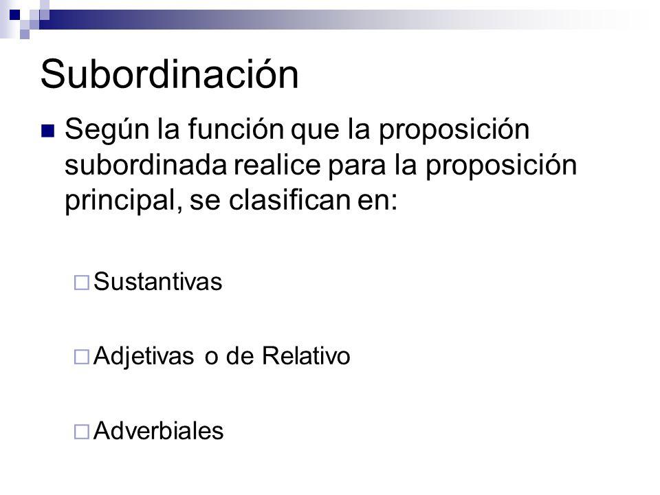 Subordinación Según la función que la proposición subordinada realice para la proposición principal, se clasifican en: