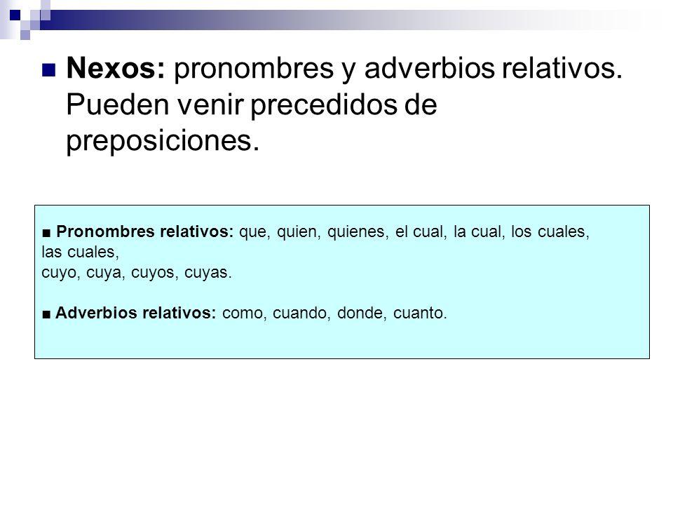 Nexos: pronombres y adverbios relativos