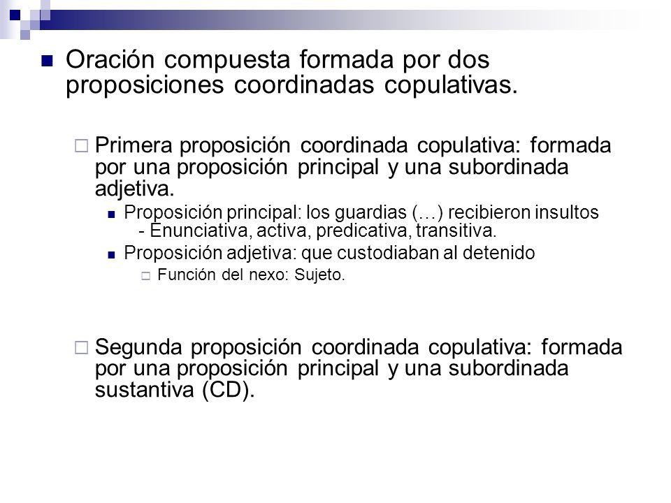 Oración compuesta formada por dos proposiciones coordinadas copulativas.