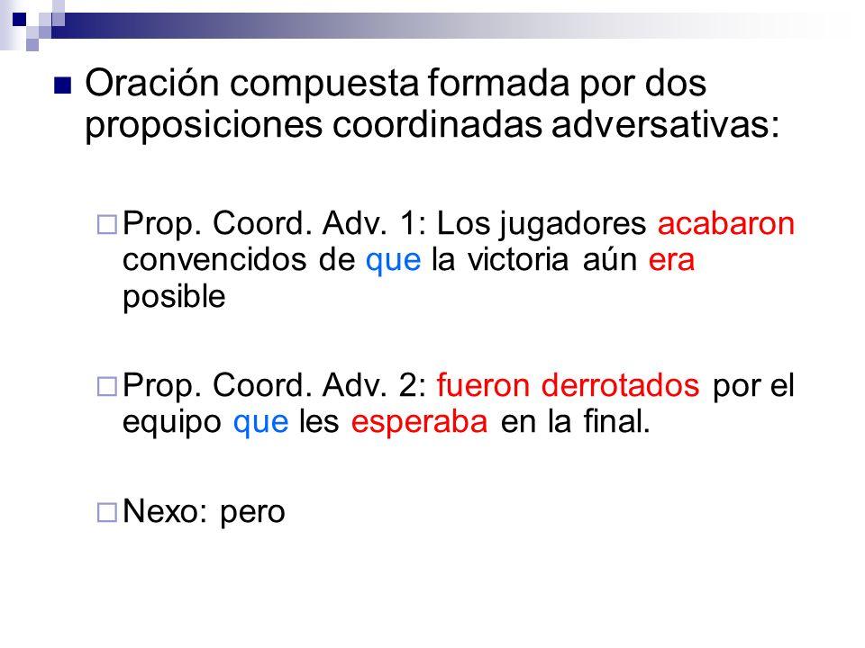 Oración compuesta formada por dos proposiciones coordinadas adversativas: