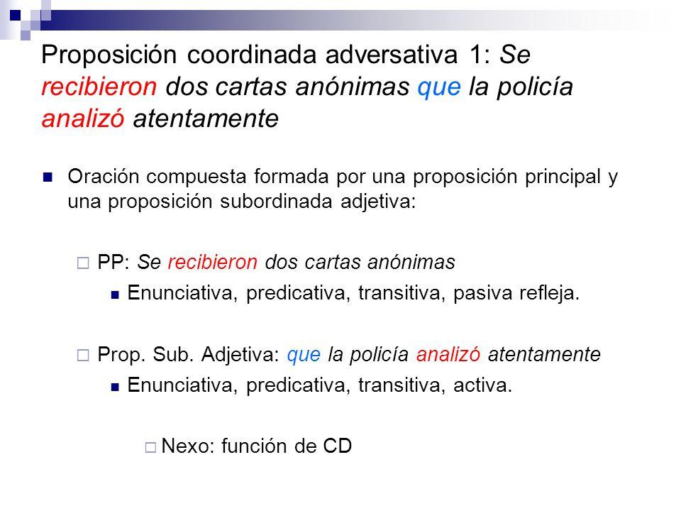 Proposición coordinada adversativa 1: Se recibieron dos cartas anónimas que la policía analizó atentamente