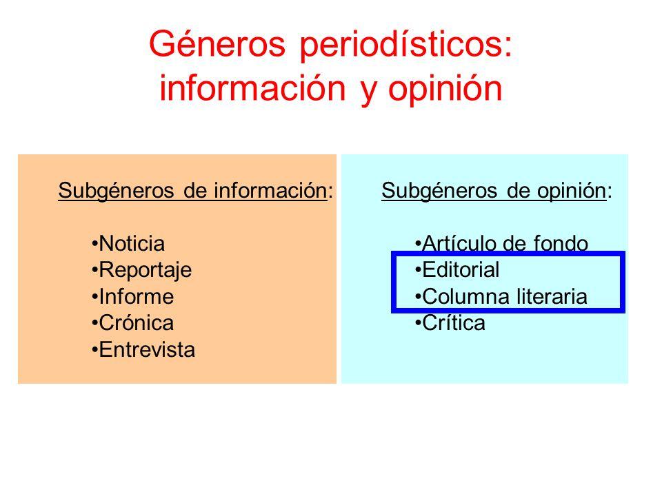 Géneros periodísticos: información y opinión