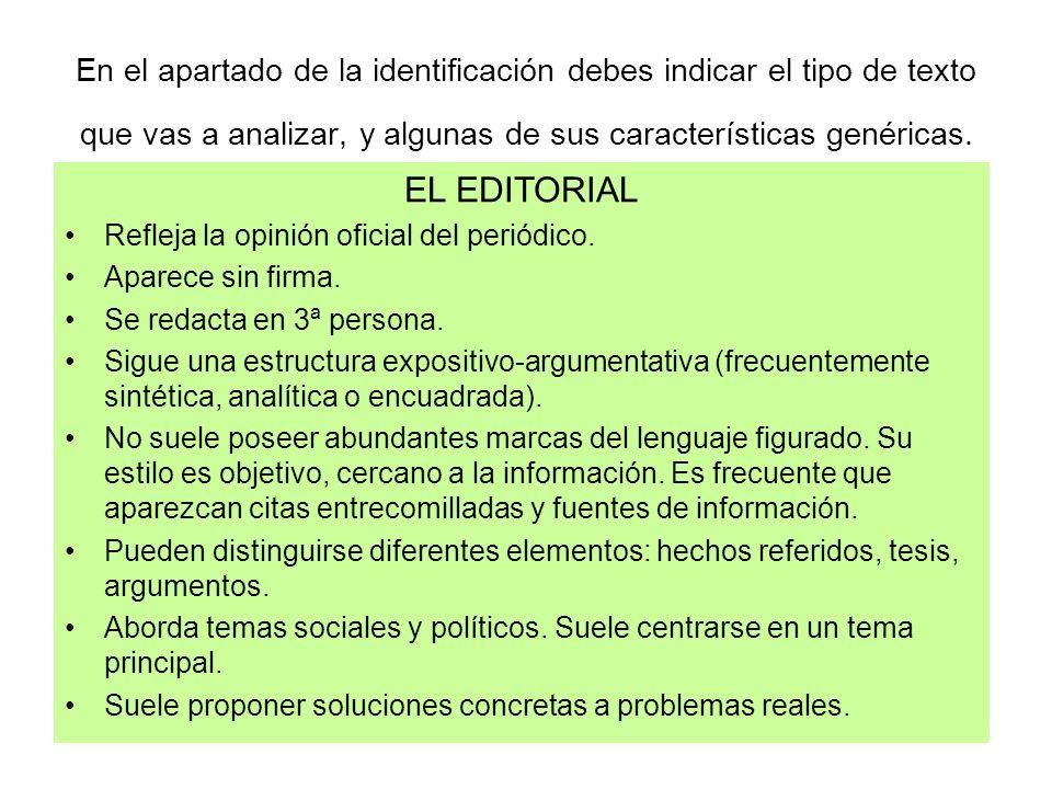 En el apartado de la identificación debes indicar el tipo de texto que vas a analizar, y algunas de sus características genéricas.