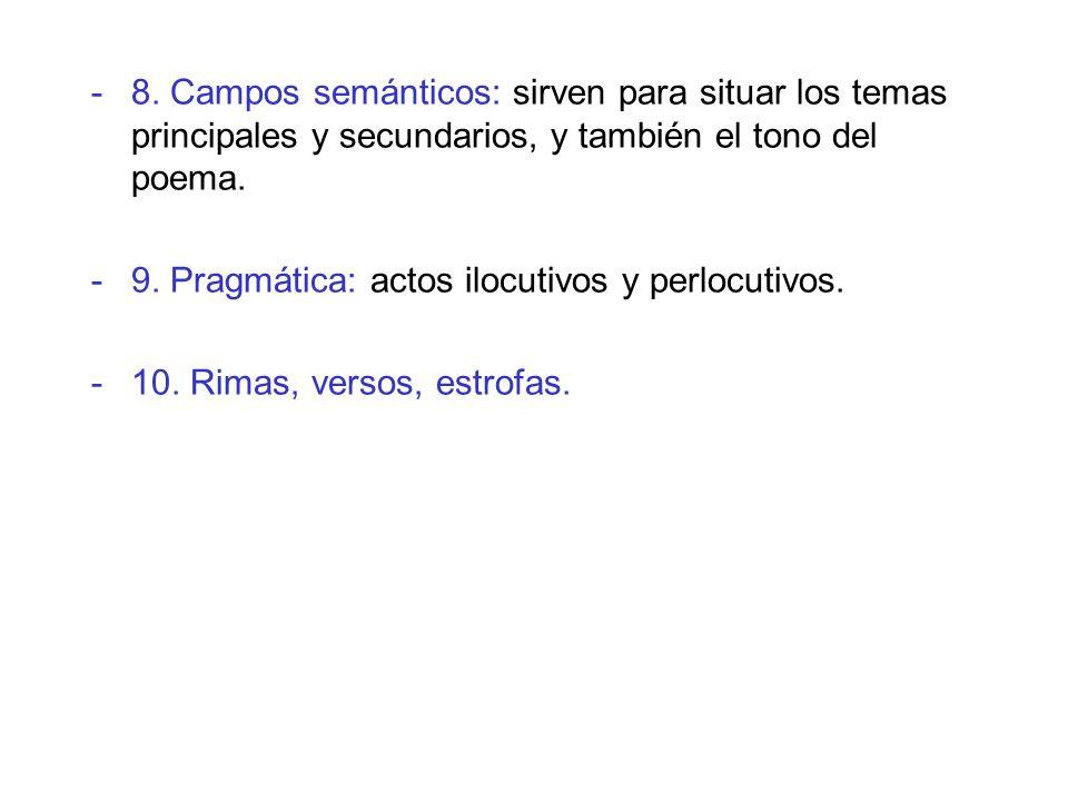 8. Campos semánticos: sirven para situar los temas principales y secundarios, y también el tono del poema.