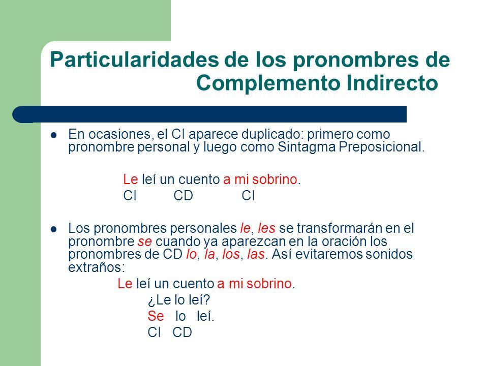 Particularidades de los pronombres de Complemento Indirecto