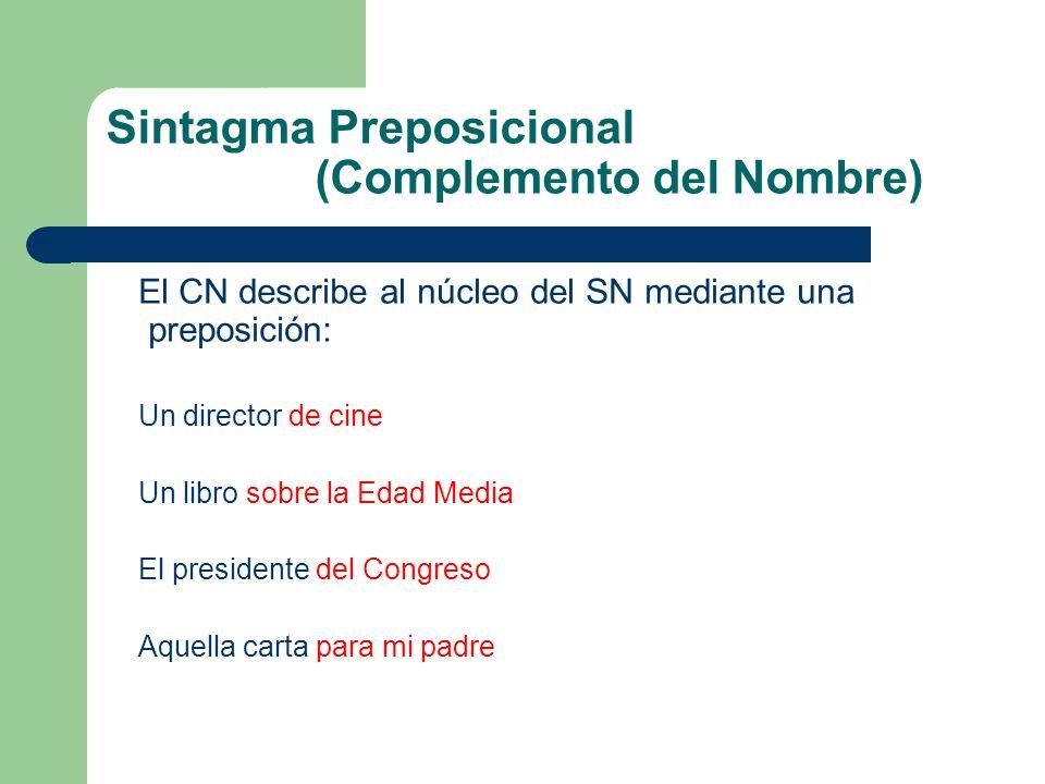 Sintagma Preposicional (Complemento del Nombre)
