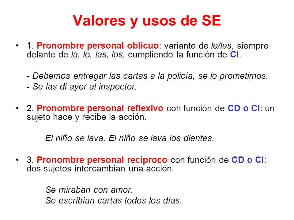 Valores y usos de SE 1. Pronombre personal oblicuo: variante de le/les, siempre delante de la, lo, las, los, cumpliendo la función de CI.