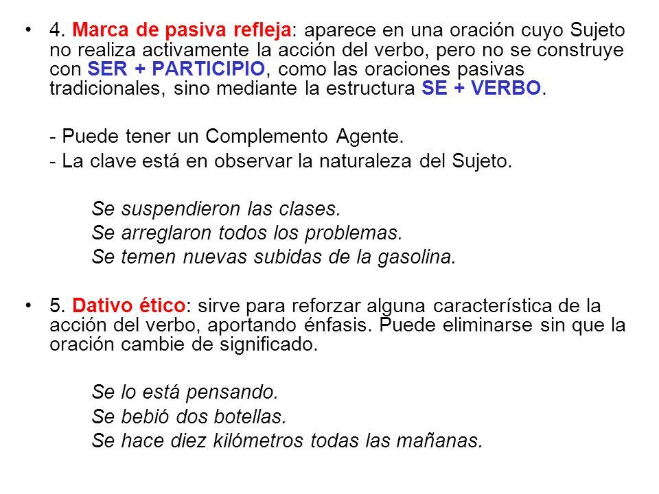 4. Marca de pasiva refleja: aparece en una oración cuyo Sujeto no realiza activamente la acción del verbo, pero no se construye con SER + PARTICIPIO, como las oraciones pasivas tradicionales, sino mediante la estructura SE + VERBO.