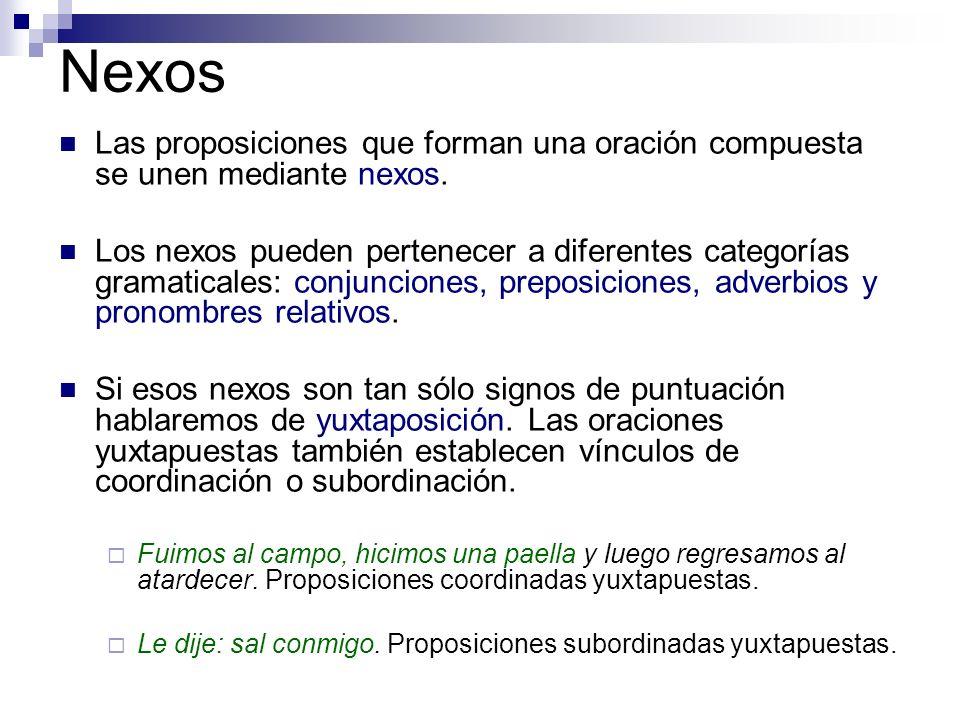 Nexos Las proposiciones que forman una oración compuesta se unen mediante nexos.