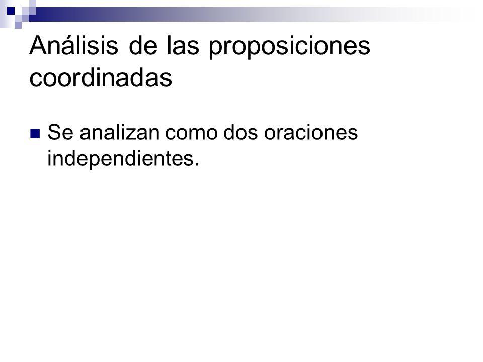 Análisis de las proposiciones coordinadas