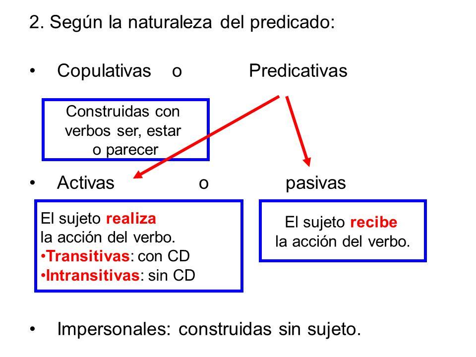2. Según la naturaleza del predicado: Copulativas o Predicativas