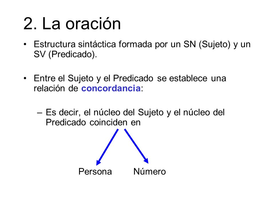 2. La oración Estructura sintáctica formada por un SN (Sujeto) y un SV (Predicado).