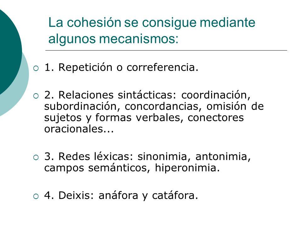 La cohesión se consigue mediante algunos mecanismos: