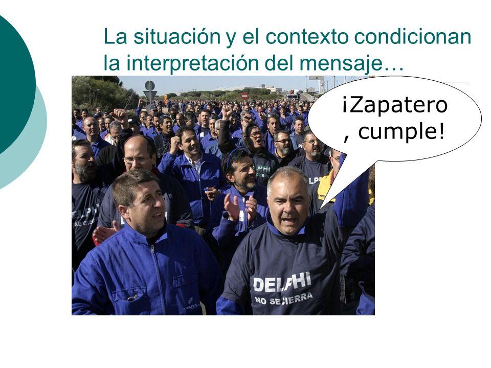 La situación y el contexto condicionan la interpretación del mensaje…