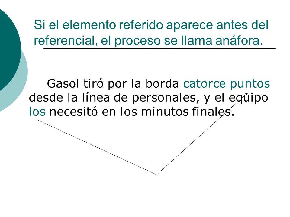 Si el elemento referido aparece antes del referencial, el proceso se llama anáfora.
