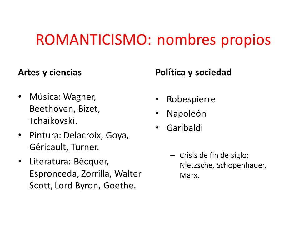 ROMANTICISMO: nombres propios